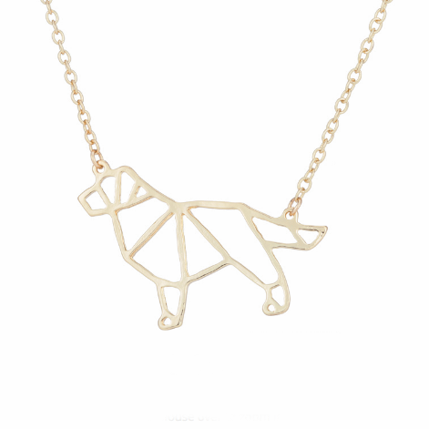 geometric dog necklace in gold