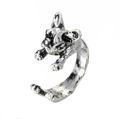 French bulldog ring in silver