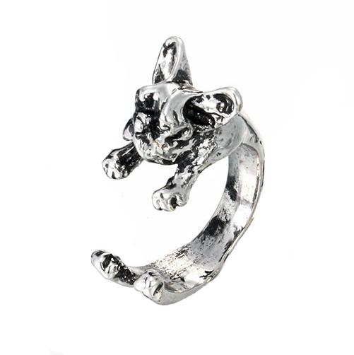 French bulldog ring in silver